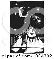 Clipart Woodcut Of Covering The Sun For Night Royalty Free Vector Illustration