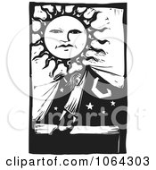 Clipart Woodcut Of Covering The Night For Day Royalty Free Vector Illustration