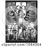 Clipart Woodcut Tarot Witch Royalty Free Vector Illustration by xunantunich