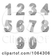 Clipart 3d Chrome Numbers Digital Collage Royalty Free CGI Illustration