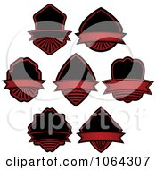 Clipart Red And Black Labels Digital Collage Royalty Free Vector Illustration