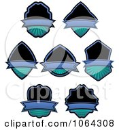 Clipart Black And Blue Labels Digital Collage Royalty Free Vector Illustration