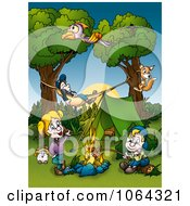 Clipart Camping Family Around A Fire Royalty Free Illustration