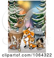 Clipart Wild Animals And Fireworks In The Woods Royalty Free Illustration by dero