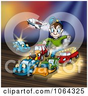 Clipart Boy Playing With His Live Toys Royalty Free Illustration by dero