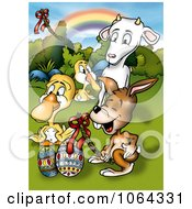 Clipart Animals And Easter Eggs Under A Rainbow Royalty Free Illustration by dero