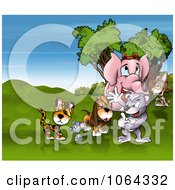 Clipart Animal Friends In A Meadow Royalty Free Illustration