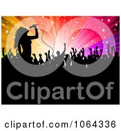 Clipart Silhouetted Singer And Fans Against Colorful Rays Royalty Free Vector Illustration