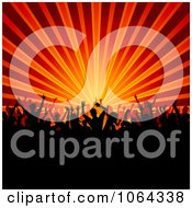 Clipart Silhouetted Crowd With Orange And Red Rays Royalty Free Vector Illustration