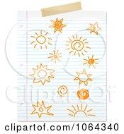 Doodled Suns On Ruled Paper
