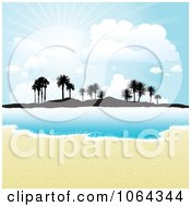 Clipart White Sands Surf And A Tropical Island Royalty Free Vector Illustration