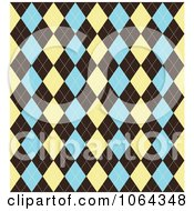 Clipart Argyle Pattern In Tan Brown And Blue Royalty Free Vector Illustration