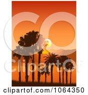 Clipart Orange Sunset And Tropical Landscape Royalty Free Vector Illustration