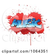 Clipart Comic Splatter With Music Text Royalty Free Vector Illustration