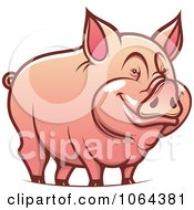Clipart Happy Pig Royalty Free Vector Illustration