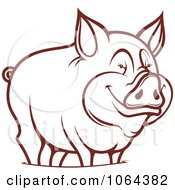 Clipart Happy Outlined Pig 2 Royalty Free Vector Illustration