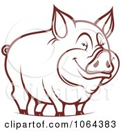 Clipart Happy Outlined Pig 1 Royalty Free Vector Illustration
