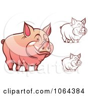Clipart Happy Pigs Digital Collage Royalty Free Vector Illustration