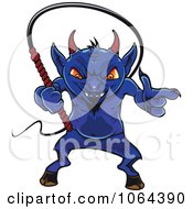 Clipart Blue Devil And Whip Royalty Free Vector Illustration