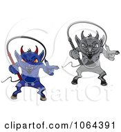 Clipart Devils And Whips Digital Collage Royalty Free Vector Illustration by Seamartini Graphics