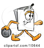 Clipart Picture Of A Paper Mascot Cartoon Character Holding A Bowling Ball