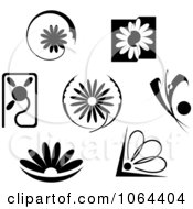 Clipart Black And White Flowers Digital Collage Royalty Free Vector Illustration