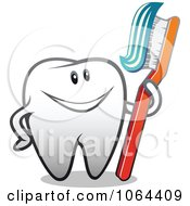 Clipart Happy Tooth With A Brush 3 Royalty Free Vector Illustration