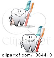 Clipart Happy Teeth With Brushes Digital Collage Royalty Free Vector Illustration