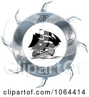 Clipart Silver Wheel Around A Ship Royalty Free Vector Illustration