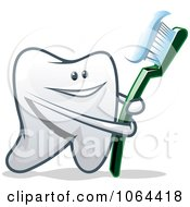 Clipart Happy Tooth With A Brush 1 Royalty Free Vector Illustration
