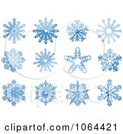 Clipart Blue Snowflakes Digital Collage 2 Royalty Free Vector Illustration