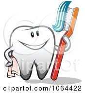 Clipart Happy Tooth With A Brush 2 Royalty Free Vector Illustration
