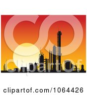 Clipart Silhouetted Factory At Sunset Royalty Free Vector Illustration