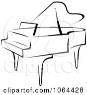 Clipart Grand Piano In Black And White Royalty Free Vector Illustration