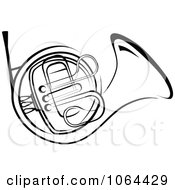 Clipart French Horn In Black And White Royalty Free Vector Illustration