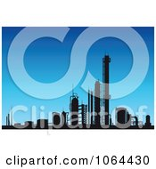 Clipart Silhouetted Factory Against Blue Sky Royalty Free Vector Illustration