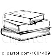 Clipart Stack Of Books In Black And White Royalty Free Vector Illustration