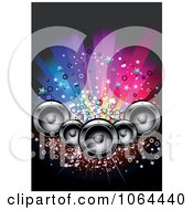 Clipart Music Speaker And Colorful Lights Background Royalty Free Vector Illustration