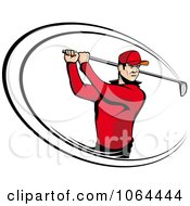 Clipart Golfer Swinging Royalty Free Vector Illustration