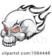 Clipart Flaming Skull With Red Eyes Royalty Free Vector Illustration
