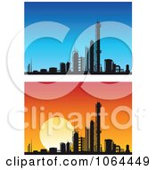 Clipart Silhouetted Factories Digital Collage Royalty Free Vector Illustration