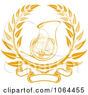 Clipart French Horn Laurel Royalty Free Vector Illustration