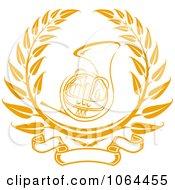 Clipart French Horn Laurel Royalty Free Vector Illustration