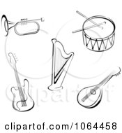 Clipart Black And White Instruments Digital Collage Royalty Free Vector Illustration