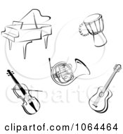 Clipart Instruments In Black And White Digital Collage Royalty Free Vector Illustration by Vector Tradition SM