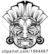 Clipart Ceremonial Mask In Black And White 2 Royalty Free Vector Illustration