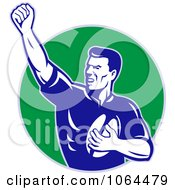 Clipart Rugby Player Holding Up A Fist Royalty Free Vector Illustration
