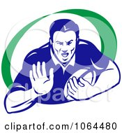 Clipart Rugby Player Holding A Hand Out Royalty Free Vector Illustration