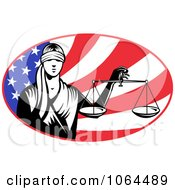 Clipart Lady Justice And American Flag Royalty Free Vector Illustration