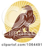 Clipart Perched Eagle And Rays Royalty Free Vector Illustration